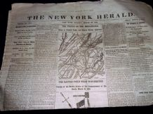 RARE ANTIQUE NEWSPAPER NEW YORK HERALD MARCH 30th 1862 SHENANDOAH WINCHESTER